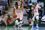 25 March 2014: North Carolina's Diamond DeShields (23) and Michigan State's Branndais Agee (10). The University of North Carolina Tar Heels played the Michigan State University Spartans in an NCAA Division I Women's Basketball Tournament First Round game at Cameron Indoor Stadium in Durham, North Carolina. UNC won the game 62-53.