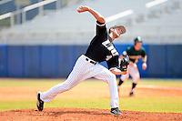 Long Island Blackbirds pitcher Jordan Wilcox #44 during a game against the Dartmouth Big Green at Chain of Lakes Stadium on March 17, 2013 in Winter Haven, Florida.  Dartmouth defeated Long Island 11-4.  (Mike Janes/Four Seam Images)