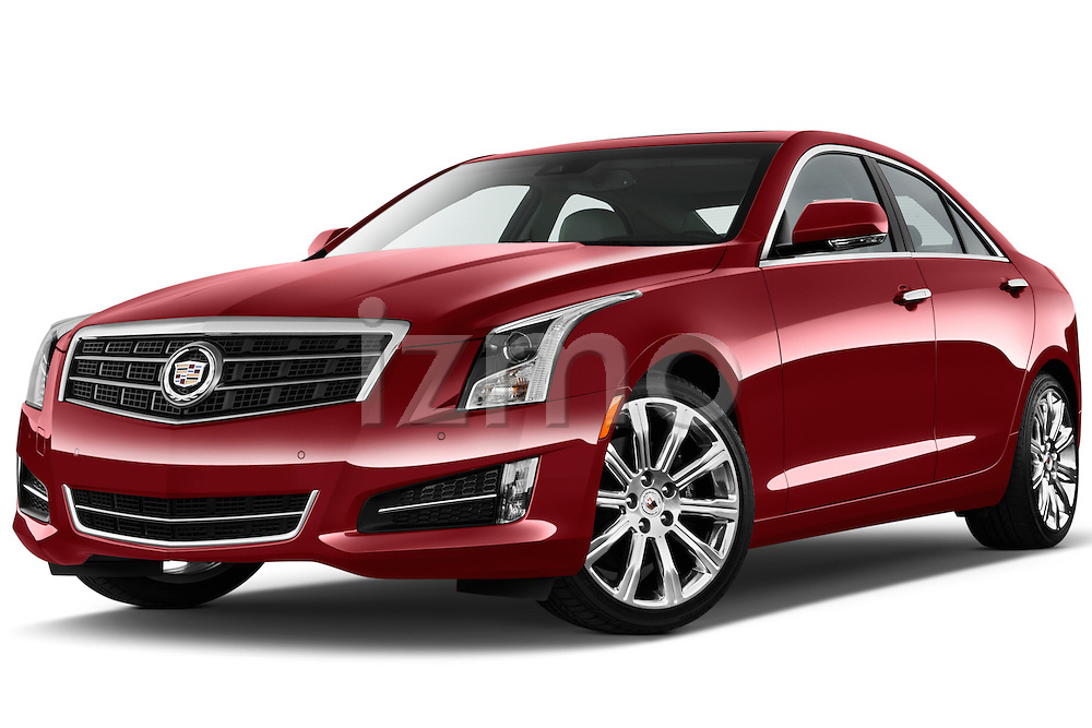Low aggressive front three quarter view of a. 2013 Cadillac ATS sedan