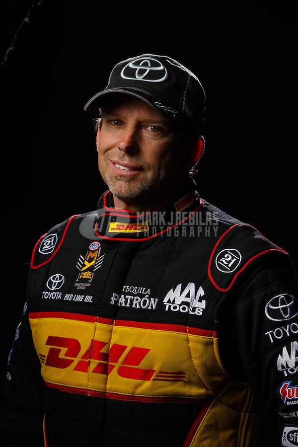 Feb 10, 2016; Pomona, CA, USA; NHRA funny car driver Del Worsham poses for a portrait during media day at Auto Club Raceway at Pomona. Mandatory Credit: Mark J. Rebilas-USA TODAY Sports