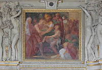 Fresco of Alexander sparing Timoclea, a Theban woman, 16th century, by Niccolo dell'Abatte after drawings by Primaticcio, in the Bedchamber of the Duchesse d'Estampes or the King's staircase, Chateau de Fontainebleau, France. The Palace of Fontainebleau is one of the largest French royal palaces and was begun in the early 16th century for Francois I. It was listed as a UNESCO World Heritage Site in 1981. Picture by Manuel Cohen