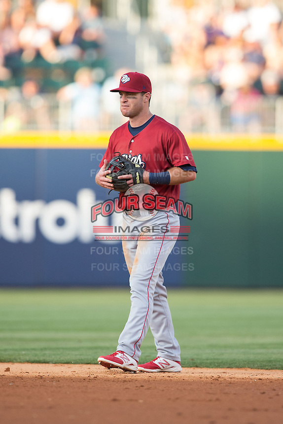 Lehigh Valley IronPigs second baseman Jayson Nix (4) on defense against the Charlotte Knights at BB&T BallPark on May 30, 2015 in Charlotte, North Carolina.  The IronPigs defeated the Knights 1-0.  (Brian Westerholt/Four Seam Images)
