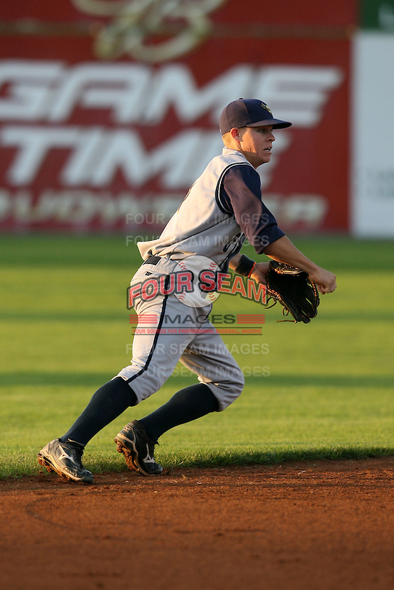 August 31, 2009:  Shortstop Brock Holt of the State College Spikes during a game at Frontier Field in Rochester, NY.  State College is the NY-Penn League affiliate of the Pittsburgh Pirates.  Photo By Mike Janes/Four Seam Images