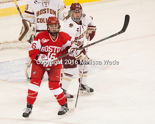Sammy Davis (BU - 16), Toni Ann Miano (BC - 18) - The Boston College Eagles defeated the visiting Boston University Terriers 5-3 (EN) on Friday, November 4, 2016, at Kelley Rink in Conte Forum in Chestnut Hill, Massachusetts.The Boston College Eagles defeated the visiting Boston University Terriers 5-3 (EN) on Friday, November 4, 2016, at Kelley Rink in Conte Forum in Chestnut Hill, Massachusetts.