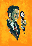 Illustrative image of man with magnifying glass representing spy agent over orange background