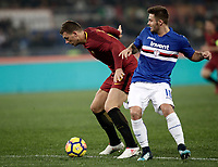 Calcio, Serie A: AS Roma - Sampdoria, Roma, stadio Olimpico, 28 gennaio 2018. i<br /> Roma's Edin Dzeko (l) in action with Sampdoria's Karol Linetty (r) during the Italian Serie A football match between AS Roma and Sampdoria at Rome's Olympic stadium, January 28, 2018.<br /> UPDATE IMAGES PRESS/Isabella Bonotto