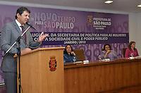 SAO PAULO, SP, 14 DE JANEIRO DE 2013.- HADDAD POLITICA PARA MULHERES - O prefeito Fernando Haddad durante Diálogo Inaugural da Secretaria Especial de Políticas para as Mulheres, na prefeitura de Sao Paulo, da tarde desta segunda feira, 14.  (FOTO: ALEXANDRE MOREIRA / BRAZIL PHOTO PRESS).