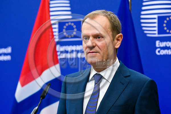BRUSSELS - BELGIUM - 21 January 2015 -- Prime Minister of Norway visiting Donald TUSK, President of the European Council. Here during the press conference. -- Photo: Juha ROININEN / EUP-IMAGES / Prime Ministers Office