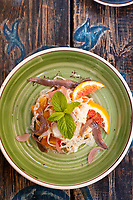 Antipasto - Insalata di arancia e acciughe e finocchio, (Salad of orange, anchovies and fennel), at Sicilia in Tavola, Siracusa, Italy