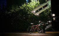 Trek-Segafredo mechanic Jose Eduardo Santos works until after dark (the night before the 21st stage) to get the bikes ready one last time for the 99th Giro d'Italia 2016