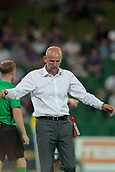 9th January 2018, nib Stadium, Perth, Australia; A League football, Perth Glory versus Melbourne City; Kenny Lowe coach of Perth Glory reacts to the referees decision during the second half
