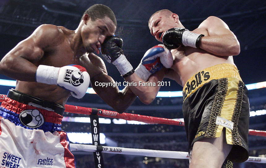 11/13/10,Arlington,Texas  --- Mike Jones(L) wins a 12-round majority decision over Jesus Soto-Karass(R)  Saturday night at Cowboys Stadium in Arlington,Texas.   --- Photo Credit : Chris Farina - Top Rank  (no other credit allowed)  copyright 2010