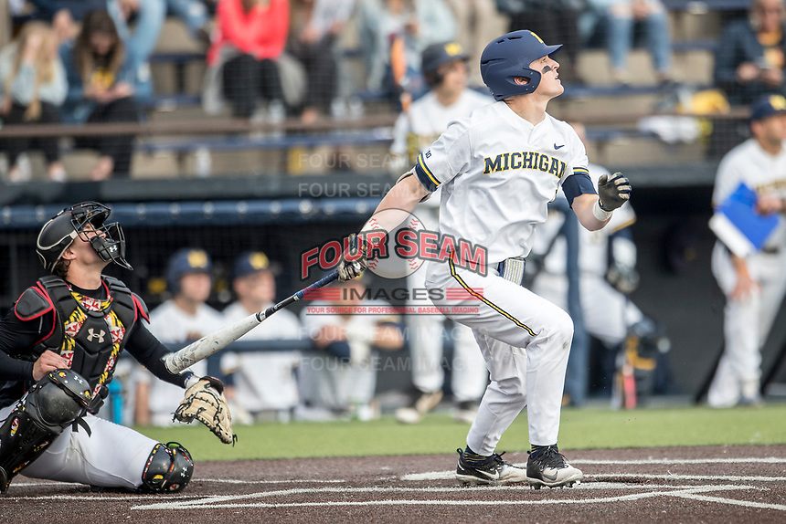 Michigan Wolverines first baseman Jesse Franklin (7) follows through on his swing against the Maryland Terrapins on April 13, 2018 in a Big Ten NCAA baseball game at Ray Fisher Stadium in Ann Arbor, Michigan. Michigan defeated Maryland 10-4. (Andrew Woolley/Four Seam Images)
