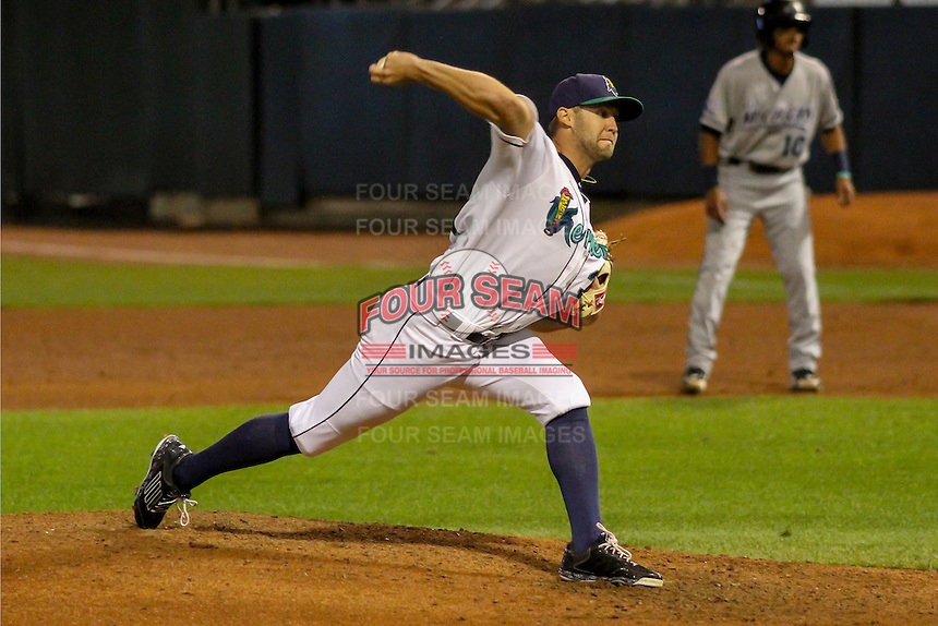 Cedar Rapids Kernels pitcher Luke Bard (31) delivers a pitch during game five of the Midwest League Championship Series against the West Michigan Whitecaps on September 21st, 2015 at Perfect Game Field at Veterans Memorial Stadium in Cedar Rapids, Iowa.  West Michigan defeated Cedar Rapids 3-2 to win the Midwest League Championship. (Brad Krause/Four Seam Images)