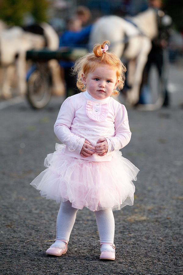 2/10/2010.  2 year old traveller girl  Joan Quilligan is pictured at the Ballinasloe Horse Fair, Ballinasloe, County Galway, Ireland. Picture James Horan