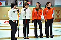 (L to R) Satsuki Fujisawa (Chuden), Miyo Ichikawa (Chuden), Emi Shimizu (Chuden), Miyuki Sato (Chuden),..FEBRUARY 10, 2011 - Curling : The 28th Zennou Japan Curling Championship at Sunpillar Park curling hall, Hokkaido, Japan. (Photo by Jun Tsukida/AFLO SPORT)[0003]