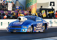 Apr 25, 2014; Baytown, TX, USA; NHRA pro stock driver Larry Morgan during qualifying for the Spring Nationals at Royal Purple Raceway. Mandatory Credit: Mark J. Rebilas-