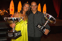 Kelly Slater (USA) and Layne Beachley (AUS) with 15 World Titles between display their trophies at the 25th Annual Foster's ASP World Champion's Crowning at Conrad Jupiters Casino on the Gold Coast of Australia Saturday night, February 24 2007. Held just prior to the launch of the 2007 Foster's ASP and ASP Women's World Tours at Snapper Rocks, the World Champion's Crowning acknowledged a bevy of accomplishments by surfers of all disciplines.  Photo: Joli