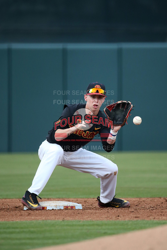 Tyler Pritchard #10 of the Southern California Trojans takes a throw at second base during a game against the Coppin State Eagles at Dedeaux Field on February 18, 2017 in Los Angeles, California. Southern California defeated Coppin State, 22-2. (Larry Goren/Four Seam Images)