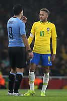 Luis Suarez of Uruguay and Neymar Jr of Brazil during Brazil vs Uruguay, International Friendly Match Football at the Emirates Stadium on 16th November 2018