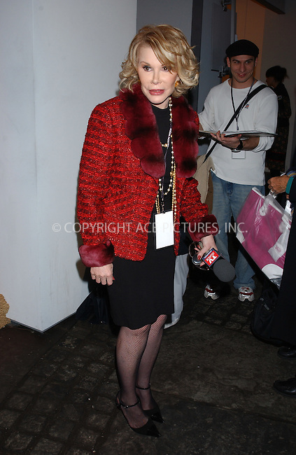 WWW.ACEPIXS.COM . . . . . ....NEW YORK, FEBRUARY 10, 2005....Joan Rivers accepts a free bag from WE at the tents in Bryant Park.....Please byline: KRISTIN CALLAHAN - ACE PICTURES.. . . . . . ..Ace Pictures, Inc:  ..Philip Vaughan (646) 769-0430..e-mail: info@acepixs.com..web: http://www.acepixs.com