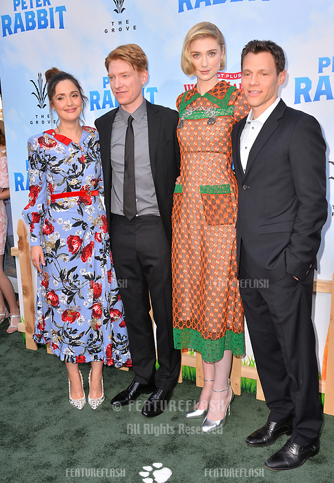 Rose Byrne, Domhnall Gleeson, Elizabeth Debicki &amp; Will Gluck at the world premiere for &quot;Peter Rabbit&quot; at The Grove, Los Angeles, USA 03 Feb. 2018<br /> Picture: Paul Smith/Featureflash/SilverHub 0208 004 5359 sales@silverhubmedia.com