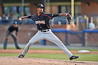 Kannapolis Intimidators starting pitcher Luis Martinez (35) delivers a pitch during a game against the Asheville Tourists on May 19, 2015 in Asheville, North Carolina. The Tourists defeated the Intimidators 7-3. (Tony Farlow/Four Seam Images)
