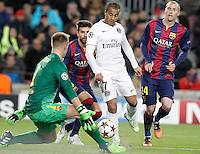 FC Barcelona's Jeremy Mathieu (r), Marc-Andre Ter Stegen (l) and Gerard Pique (b) and Paris Saint-Germain's Lucas during Champions League 2014/2015 match.December 10,2014. (ALTERPHOTOS/Acero) /NortePhoto