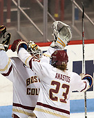 Katie Burt (BC - 33), Andie Anastos (BC - 23) - The Boston College Eagles defeated the Northeastern University Huskies 2-1 to win the Beanpot on Monday, February 7, 2017, at Matthews Arena in Boston, Massachusetts.