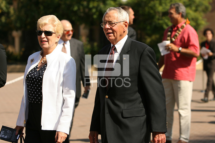 9 August 2007: Former Stanford football coach John Ralston during the Bill Walsh memorial at Memorial Church on the campus of Stanford University in Stanford, CA.