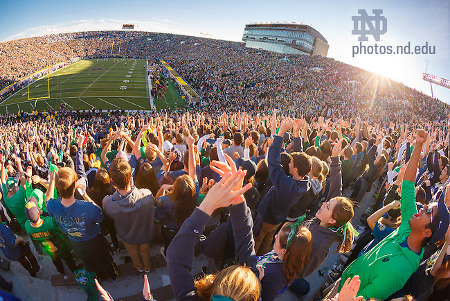 Oct. 11, 2014; ND Stadium student section. (Photo by Peter Ringenberg/University of Notre Dame)