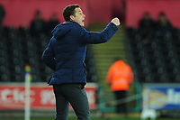 Scott Parker Manager of Fulham shouts instructions to his team from the dug-out during the Sky Bet Championship match between Swansea City and Fulham at the Liberty Stadium in Swansea, Wales, UK. Friday 29 November 2019
