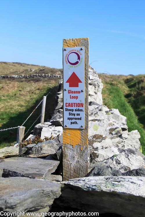 Coastal footpath and sign on cliff path, Cape Clear Island, County Cork, Ireland, Irish Republic