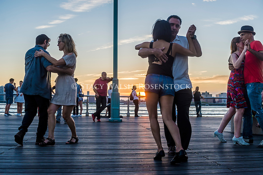 New York, USA - 28 August 2016 Tango on Christopher Street Pier in Hudson River Park, Greenwich Village.