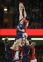 Scotland's Jonny Gray and Wales' Adam Beard fight for the line out ball <br /> <br /> Photographer Ian Cook/CameraSport<br /> <br /> Under Armour Series Autumn Internationals - Wales v Scotland - Saturday 3rd November 2018 - Principality Stadium - Cardiff<br /> <br /> World Copyright &copy; 2018 CameraSport. All rights reserved. 43 Linden Ave. Countesthorpe. Leicester. England. LE8 5PG - Tel: +44 (0) 116 277 4147 - admin@camerasport.com - www.camerasport.com