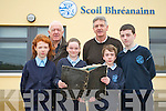A history of O'Brennan National School in Kielduff in being comprised and old photos and school stories are required for the book which will be launched later this year. .Front L-R Claudia Ward, Rachel Godley, Tiernan Brosnan and Joshua O'Keeffee.Back L-R chaiperson of the Board of Management Bobby Fitzgerald and principal Mike Sweeney.