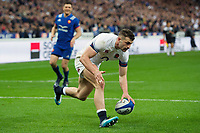 Jonny May of England runs in a try but the score is soon ruled out. Natwest 6 Nations match between France and England on March 10, 2018 at the Stade de France in Paris, France. Photo by: Patrick Khachfe / Onside Images