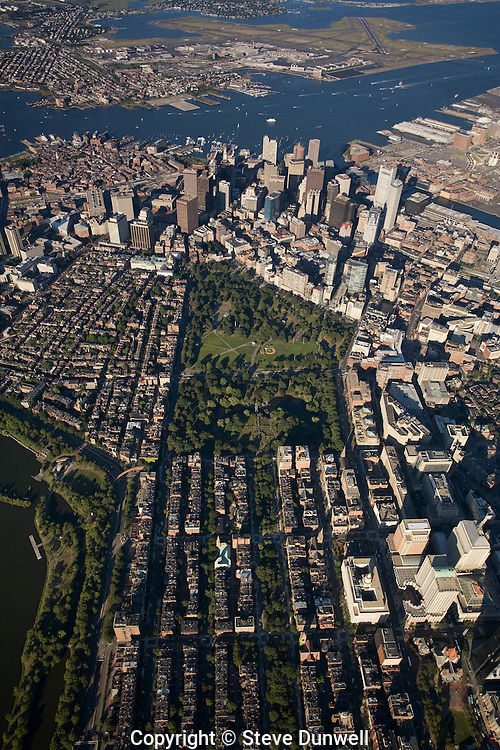 aerial view, Boston, MA 3000 ft showing Boston Common and Public Garden