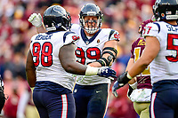 Landover, MD - November 18, 2018: Houston Texans defensive end J.J. Watt (99) celebrates a sack during second half action of game between the Houston Texans and the Washington Redskins at FedEx Field in Landover, MD. The Texans defeated the Redskins 23-21. (Photo by Phillip Peters/Media Images International)