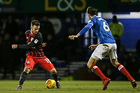 Blackburn Rovers' Adam Armstrong competing with Portsmouth's Christian Burgess <br /> <br /> Photographer Andrew Kearns/CameraSport<br /> <br /> The EFL Sky Bet League One - Portsmouth v Blackburn Rovers - Tuesday 13th February 2018 - Fratton Park - Portsmouth<br /> <br /> World Copyright &copy; 2018 CameraSport. All rights reserved. 43 Linden Ave. Countesthorpe. Leicester. England. LE8 5PG - Tel: +44 (0) 116 277 4147 - admin@camerasport.com - www.camerasport.com