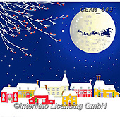 Kate, CHRISTMAS SANTA, SNOWMAN, WEIHNACHTSMÄNNER, SCHNEEMÄNNER, PAPÁ NOEL, MUÑECOS DE NIEVE, paintings+++++Village under the moon,GBKM443,#x#