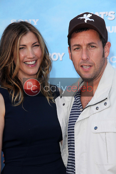Adam Sandler and wife Jackie Sandler<br /> at the &quot;That's My Boy&quot; World Premiere, Village Theatre, Westwood, CA 06-04-12<br /> David Edwards/DailyCeleb.com 818-249-4998