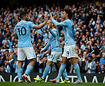 Leroy Sane of Manchester City celebrates his goal with Sergio Aguero of Manchester City during the premier league match at the Etihad Stadium, Manchester. Picture date 22nd September 2017. Picture credit should read: Simon Bellis/Sportimage