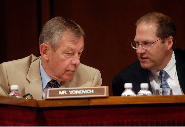 Sen. George Voinovich, R-Oh., and Sen. John Sununu, R-NH, speak at a Senate Foreign Relations committee hearing on John Bolton's nomination to be ambassador and U.S. representative to the United Nations.