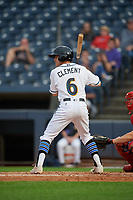 Akron RubberDucks Ernie Clement (6) at bat during an Eastern League game against the Reading Fightin Phils on June 4, 2019 at Canal Park in Akron, Ohio.  Akron defeated Reading 8-5.  (Mike Janes/Four Seam Images)