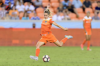 Houston, TX - Wednesday June 28, 2017: Morgan Brian takes a shot at the Boston goal during a regular season National Women's Soccer League (NWSL) match between the Houston Dash and the Boston Breakers at BBVA Compass Stadium.