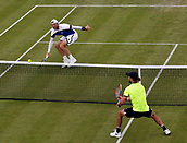 June 12th 2017,  Nottingham, England; WTA Aegon Nottingham Open Tennis Tournament day 3; 8th seed Illya Marchenko of the Ukraine beats qualifier Liam Broady of the UK with a passing shot at the net