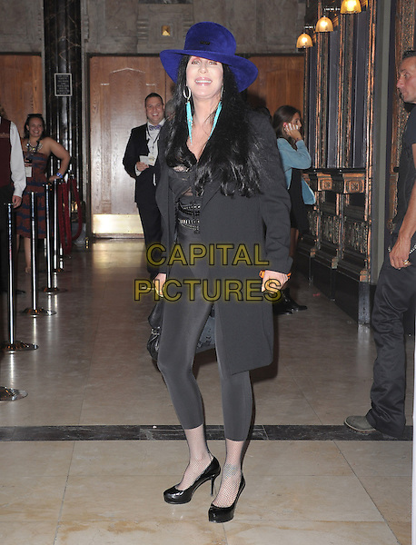 """Cher (Cherilyn Sarkisian).""""The Book of Mormon"""" Hollywood Opening night Held At The Pantages theatre, Hollywood, California, USA..September 12th, 2012.full length black hat leggings top lace trousers blue purple .CAP/DVS.©DVS/Capital Pictures."""