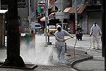 Colombia police disinfect the city due to COVID-19 in Medellín