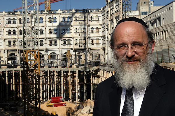 Joseph Reichmann, of the Canadian Reichmann family, owners of IPC Jerusalem Ltd, is  seen at the construction site of what once used to be the Palace Hotel in the center of Jerusalem, June 7, 2009. IPC Jerusalem Ltd partnered with the Waldorf-Astoria brand in the funding for the extensive renovations of the hotel, which was originally built in 1929. The renovation program is to completely rebuild the interior of the building, while preserving its historic facade of intricate stone carvings and decorative arches. Photo By: Tess Scheflan / JINI